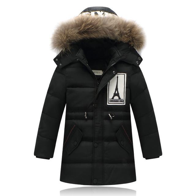 2016 Marca niños chaquetas de invierno abajo cubre la prendas de vestir exteriores del Muchacho de la Manera gruesa pato abajo Niños Cálidas chaquetas de 30 grados D8