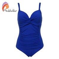 Andzhelika 2017 New Plus Size Swimwear Sexy Bandage Deep Cup Swimwear Full Lining Women One Piece