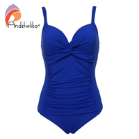 Andzhelika 2017 New Plus Size Swimwear Sexy Bandage Deep Cup Swimwear Full Lining Women One Piece