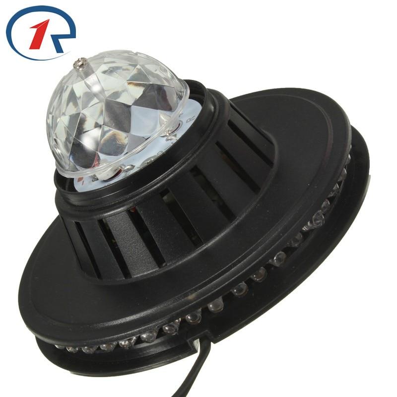 ZjRight 3W Fullfärgad LED-ljus Solroslampa lampa Auto roterande MP3 Crystal Stage Light DJ KTV Club Familjefest effekt ljus