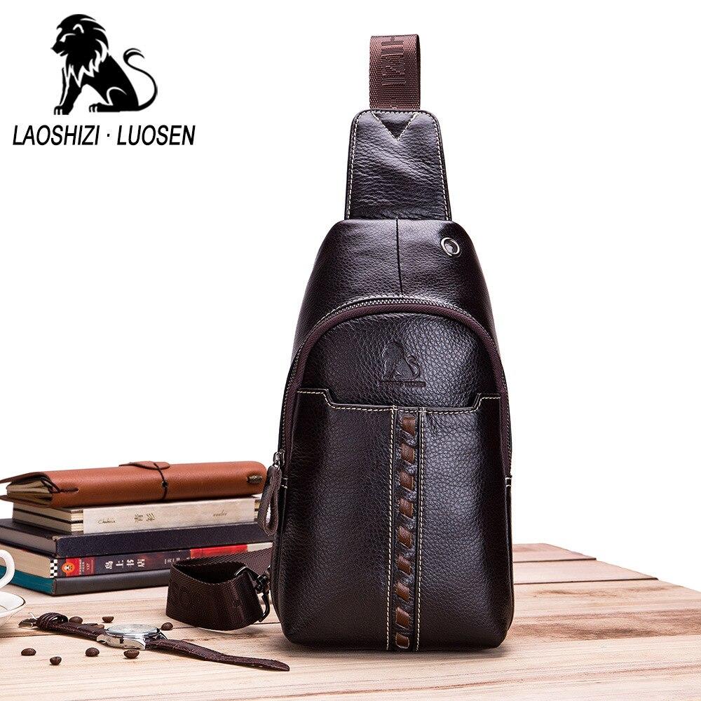LAOSHIZI LUOSEN Vintage Echt Lederen Schoudertas Kleine Mannen Borst Pakken Crossbody Enkele Riem Sling Bag Man Messenger Bag