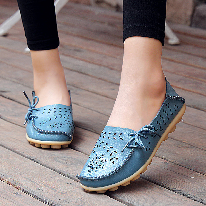 Women Flats Summer Cutouts Genuine Leather Casual Ladies Shoes Moccasins Loafers Slip On Soft Driving For Women Footwear plus size 35 4 moccasins loafers women flats shoes soft slip on ladies footwear female summer casual shoes women flats dc247