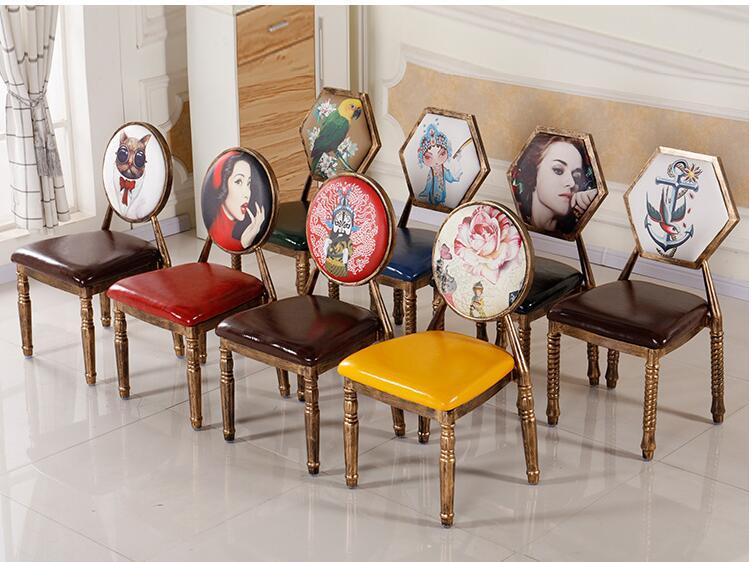 Chaise salle à manger européenne simple fer art café table et chaise rétro hôtel restaurant chaise.