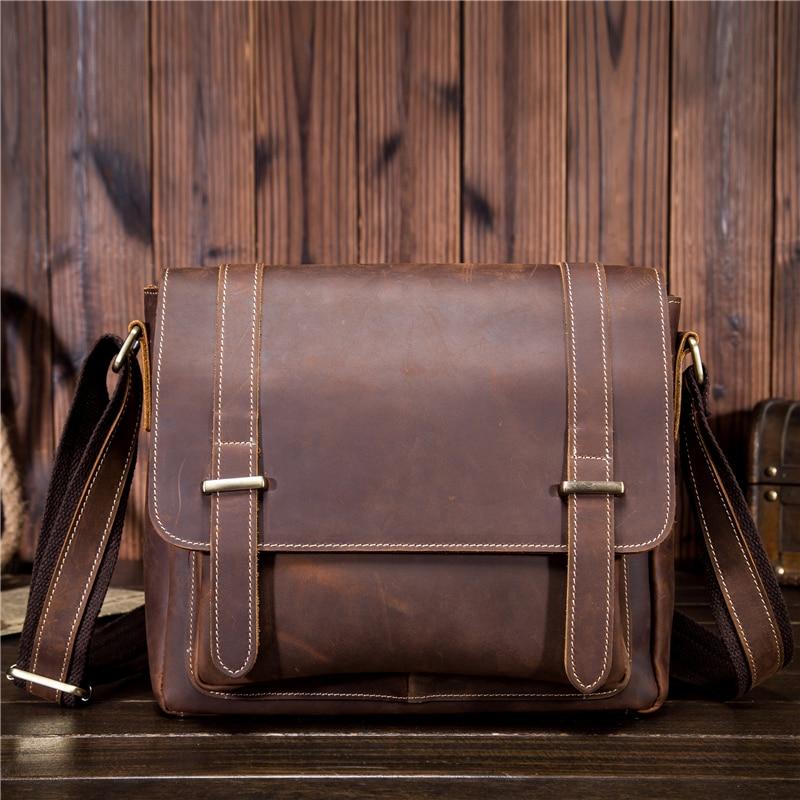 Genuine Cowhide Leather Small Size Briefcase Real Cowhide Shoulder Handbag Portfolio Office Business Casual Bag 1115