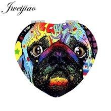 JWEIJIAO Painting Pug Dog Makeup Mirrors Heart Shaped Pet Dogs Folding Mini Pocket PU Leather Mirror 1X/2X Magnifying