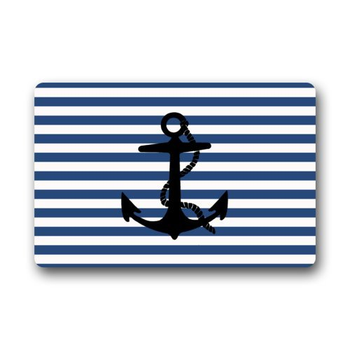Door Mat Navy Blue and White Stripe Pattern With Black Anchor Art Print Doormat