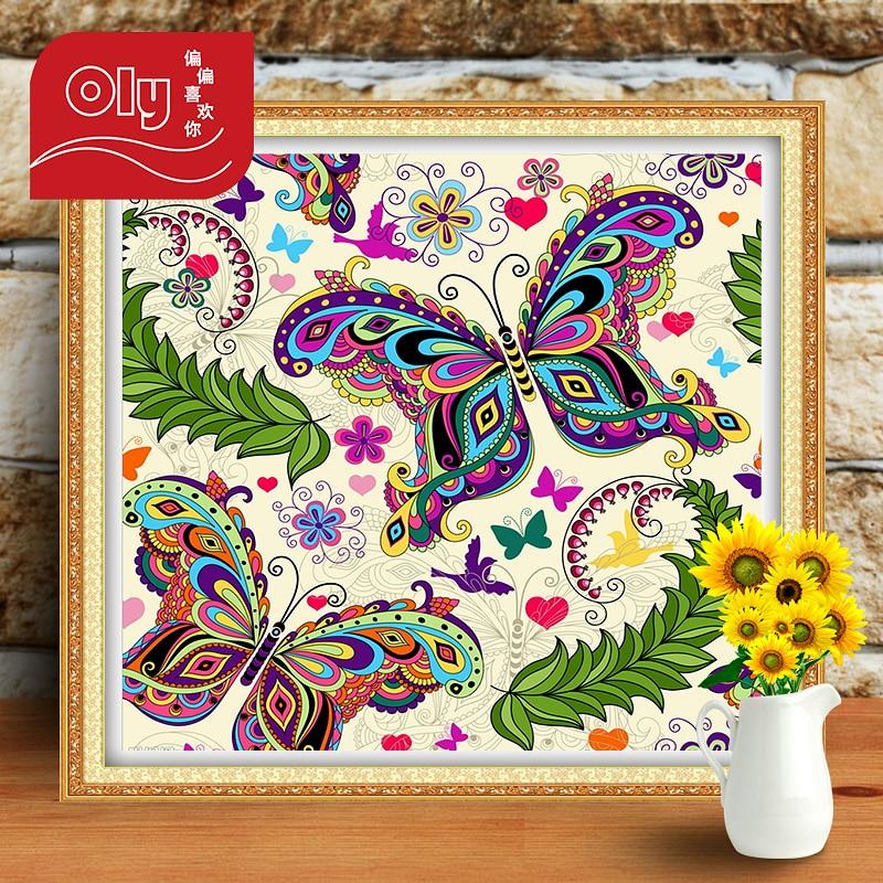 OLY Diamantové malování Cartoon Vlinder Butterfly Cross Stitch Domácí dekorace Gift Diy Diamantové vyšívání Full Round Mosaic