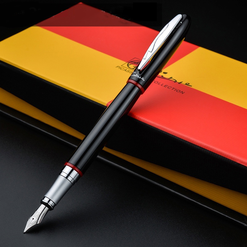 Pimio 907 Luxury Smooth Black and Red Stripe 0.5mm Iridium Nib Metal Fountain Pen with Original Gift Box Ink Pens Free Shipping hero 310b metal fountain pen