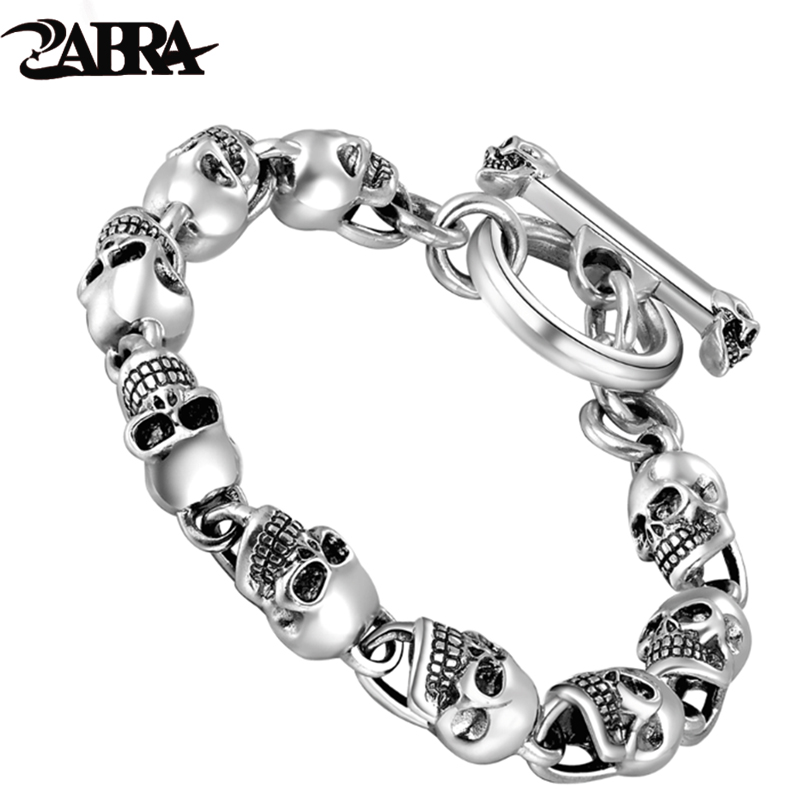 925 Sterling Silver Bracelets For Men Skull Bracelet Vintage Punk Rock Gothic Bague Fashion Men Cool Exaggerated Fine Jewelry 2018 new baby safety fence guard folding kids playpen game playing pit marine ball pool portable children s game tent baby fence