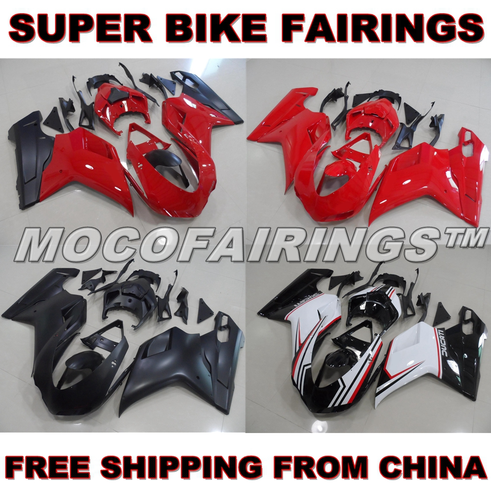 For Ducati 848 1098 1198 S / R / EVO Aftermarket ABS Injection Motorcycle Plastic Fairings Kits Body Work RED / MATTE BLACK