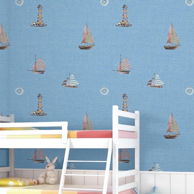 Mediterranean Light Tower Sail Boat Wallpaper for Kids Room Children's Bedroom Wall Paper Roll Papel Mural decoracao para casa лампа ночная goodnight light paper boat