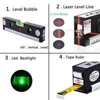 4 In 1 Blister Laser Levels Horizon Vertical Magnetic Measuring Tape Aligner Marking Lines Ruler Tools