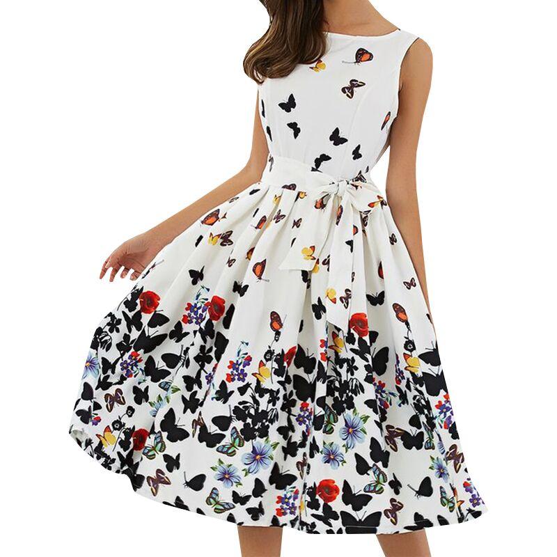 Printed Party Women Midi Beach Dress Sleeveless Flower Butterfly A-Line Draped Bow Belt Summer Dresses