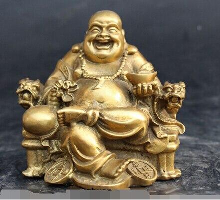 Bronze décoration de la maison Culture populaire en laiton chinois bouddhiste en laiton Dragon chaise richesse YuanBao heureux Maitreya bouddha Statue