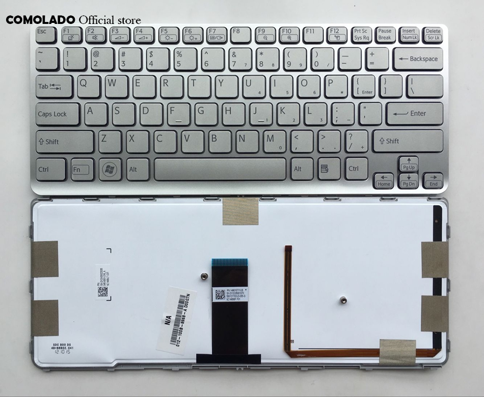 US English keyboard For Sony Vaio SVE 14 SVE14 SVS14 SVE14A backlit with silver frame Laptop Keyboard US layout new us keyboard for acer aspire vn7 793g vx5 591g vx5 591g 52wn us laptop keyboard with backlit
