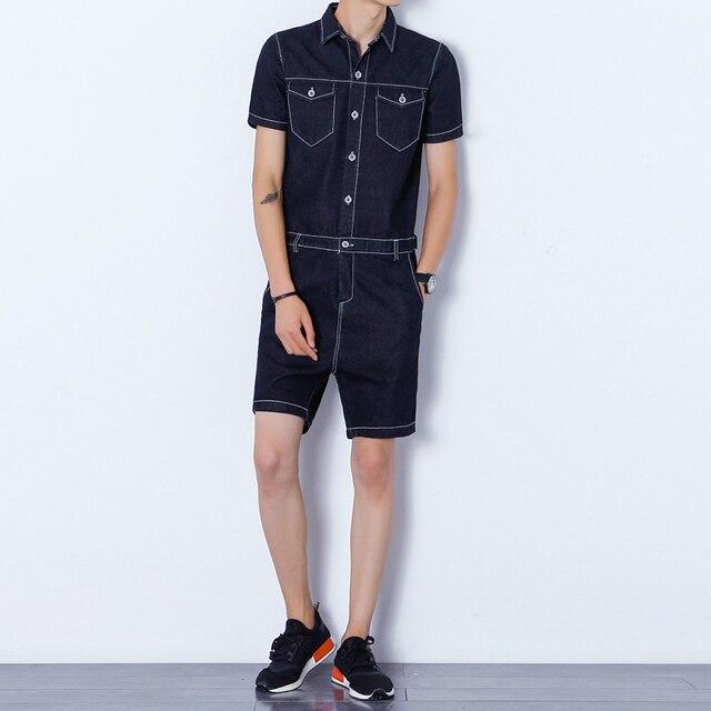 4d50333cf86e Summer Men Denim Shorts Jumpsuits Rompers Harem Shorts Zipper Fashion  Casual Jeans Playsuits Slim Fit One piece Coveralls 051801