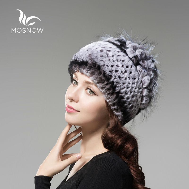 MOSNOW 2018 Rex Rabbit Fur Woman Winter Hats For Women Solid Flower Cluster Black Knitted Women's Hat Female   Skullies     Beanies