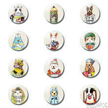 12pcs Kawaii Cartoon 25 MM Fridge Magnet Dog Cat Donkey Anime Glass Dome Note Holder Magnetic Refrigerator Stickers Home Decor anime avatar monster pet thumbnail funny spoof taste fridge magnet colourful squishy waterproof stickers kawaii toy recyclable