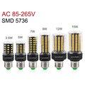 New LED Lamp SMD5736 More Bright 5730 E27 LED Bulb Smart IC 3.5W 5W 7W 9W 12W 15W LED Corn Light AC 110V 220V No Flicker Lampada