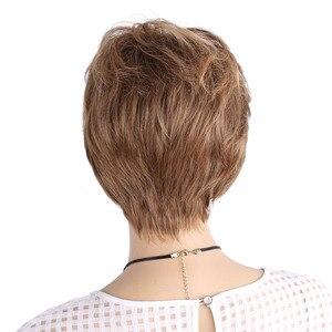 Image 3 - אמיר פלאפי פאות קצרות לבן נשים בלונד פאה סינטטי קצר מתולתל שיער פאת Ombre חום צבעים לשימוש יומיומי