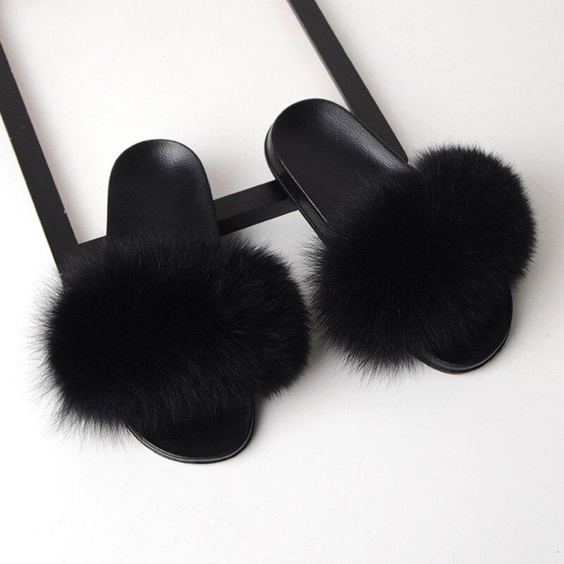 FAYUEKEY Summer Women Fox Hair Fur Slippers Home Fluffy Sliders Plush Furry Flats Sweet Ladies Cute Beach Shoes Large Size