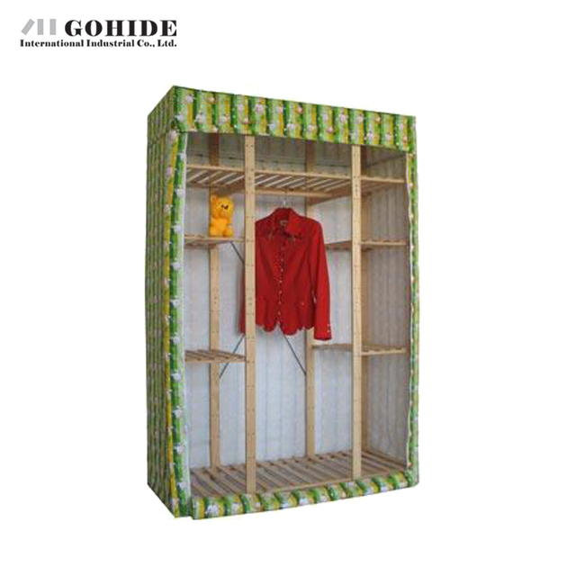 Gohide Savoring 190 X 132 X 53cm Pine Home Zipper Seal Simple Wardrobe Solid Wood Wardrobe 953 Non-Woven Fabric Closet