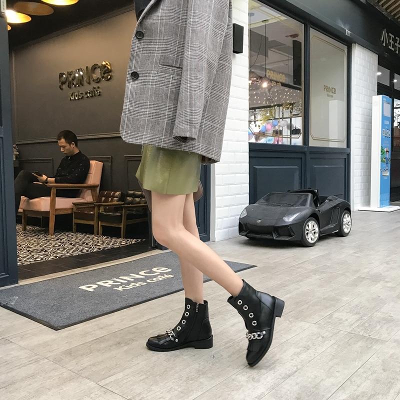 Black Chian Automne Dames Métal Chaussures Gland Cheville S981 Zip Moto En Asileto Classique Femme Riding Boot Bottes Pour Femmes Cuir BvqW5Hwx