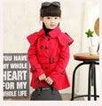 100% algodón de la marca niñas cazadora niños de doble botonadura rompevientos para las niñas 2-7 años niños muchachas del niño del bebé prendas de vestir exteriores