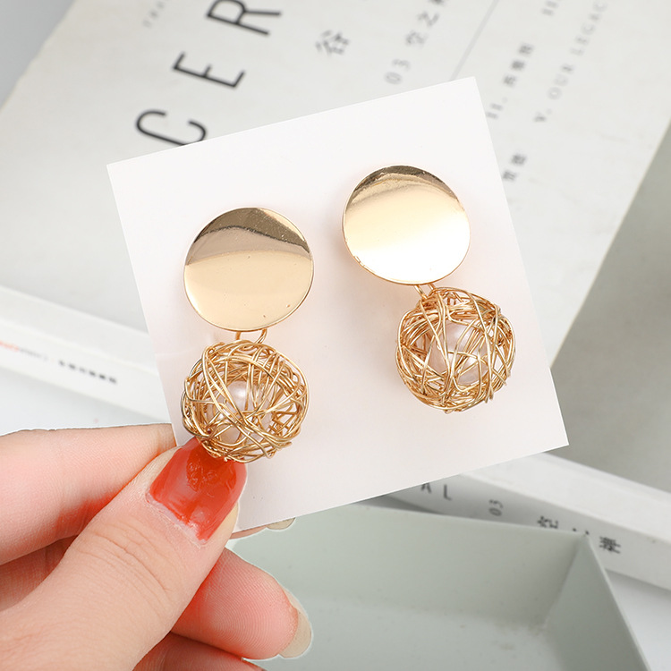 Earrings For Women Gold Silver Fashion Jewelry Pendant Girls Trend Gift Hanging Vintage Statement Female Vintage Pearl(China)