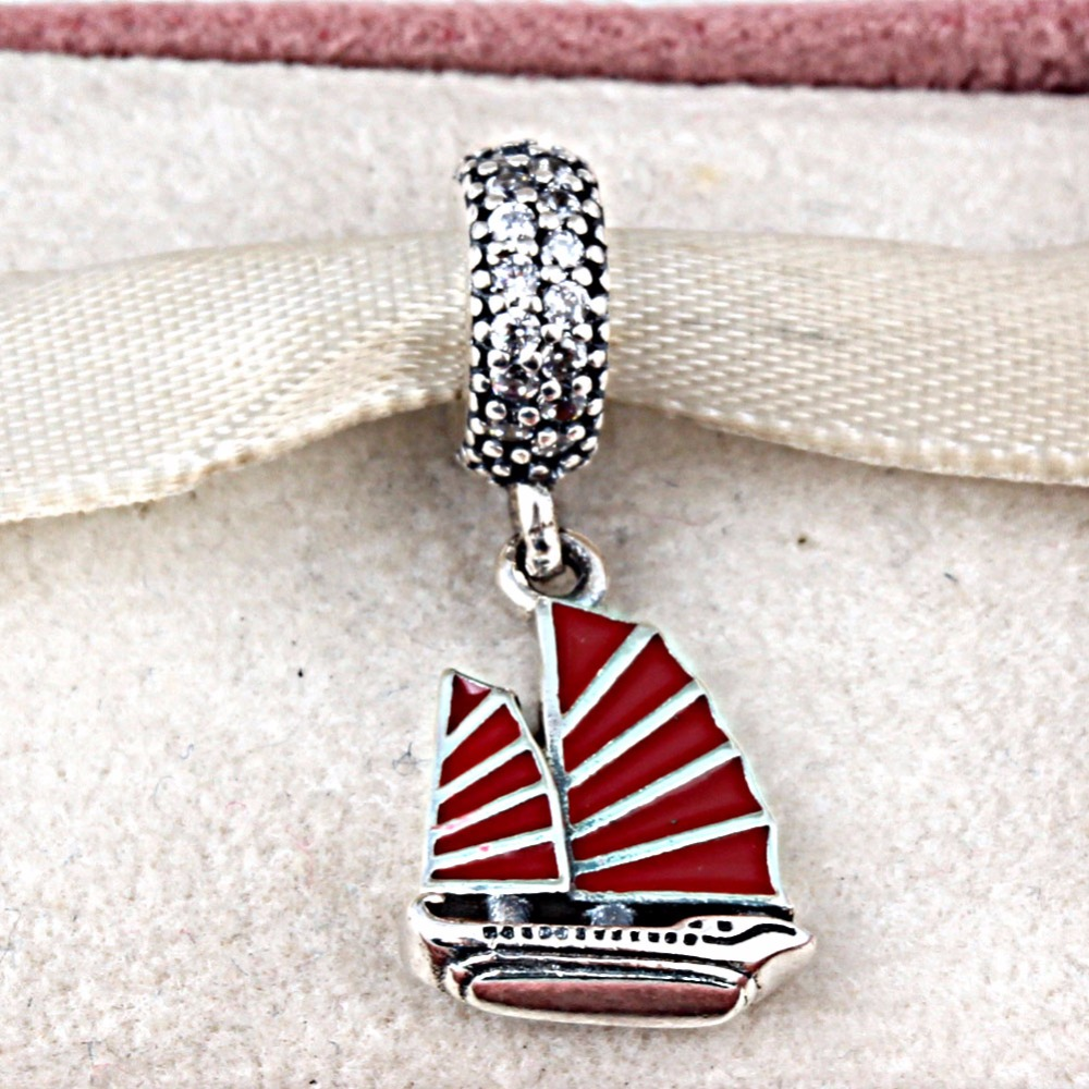 Fits Pandora Charms Bracelet 925 Sterling Silver Chinese Junk Ship Silver Dangle with Clear Cubic Zirconia and Red Enamel Women