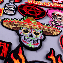 Pulaqi Skull Stripe Rock Bands Patches for Clothing DIY Embroidered On Clothes Metal Music Badges For T-Shirt Stickers F