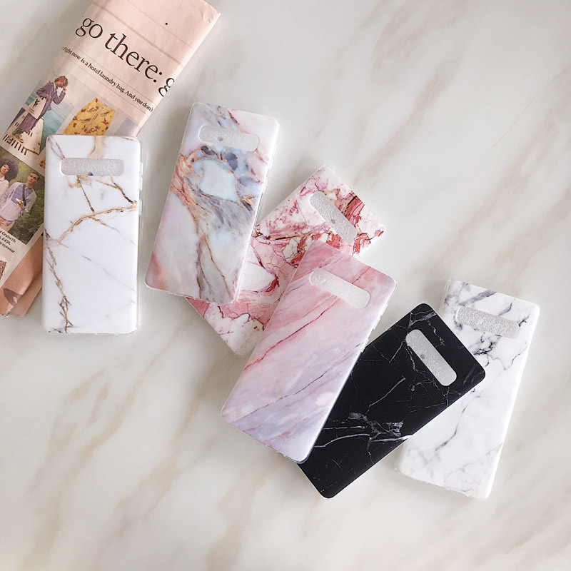 Fashion Marble Silicone Case Cover For Samsung Galaxy S7 Edge S8+ S9 Plus Note 8 Note 9 S10e Lite Plus A40 A50 A70 With Holder
