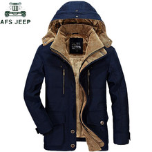 AFS JEEP Brand Verdikking Hooded Winter Parka mannen Plus Size 5XL 6XL Militaire Warme Fleece Met Bont Parka Mannen Winter jas Mannen(China)