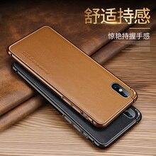 Для iphone XS Max чехол алюминий металла рамки + пояса из натуральной кожи Стикеры сзади для чехол для iphone XR X 6 s 7 8 плюс крышка Капа