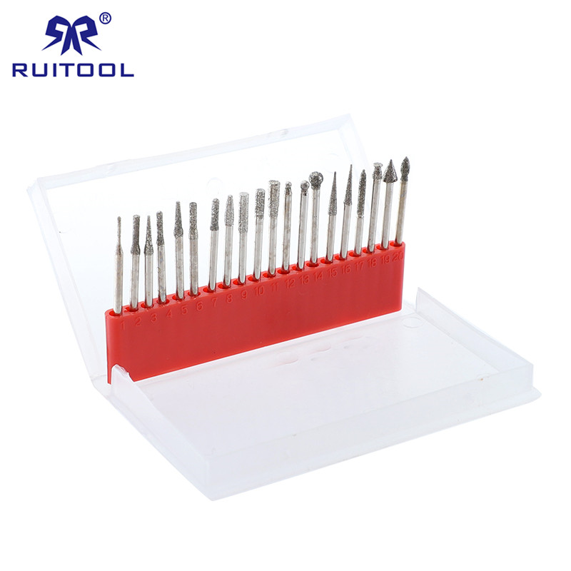 20 In1 Diamond Rotary Burrs Set Shank Diameter 2.3mm/3mm Dremel 150 Grit Grinding Abrasive Tools