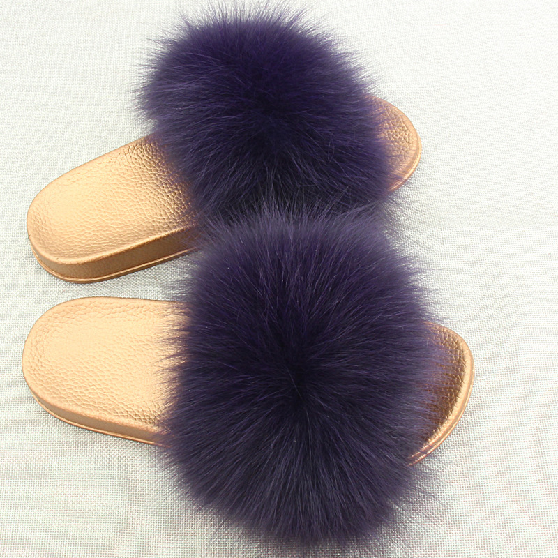 2019 Summer 23 Colors Warm Women Fur Slippers Fashion Real Fox Fur Beach Sandal Shoes Fluffy Comfy Furry Flip Flops in Slippers from Shoes