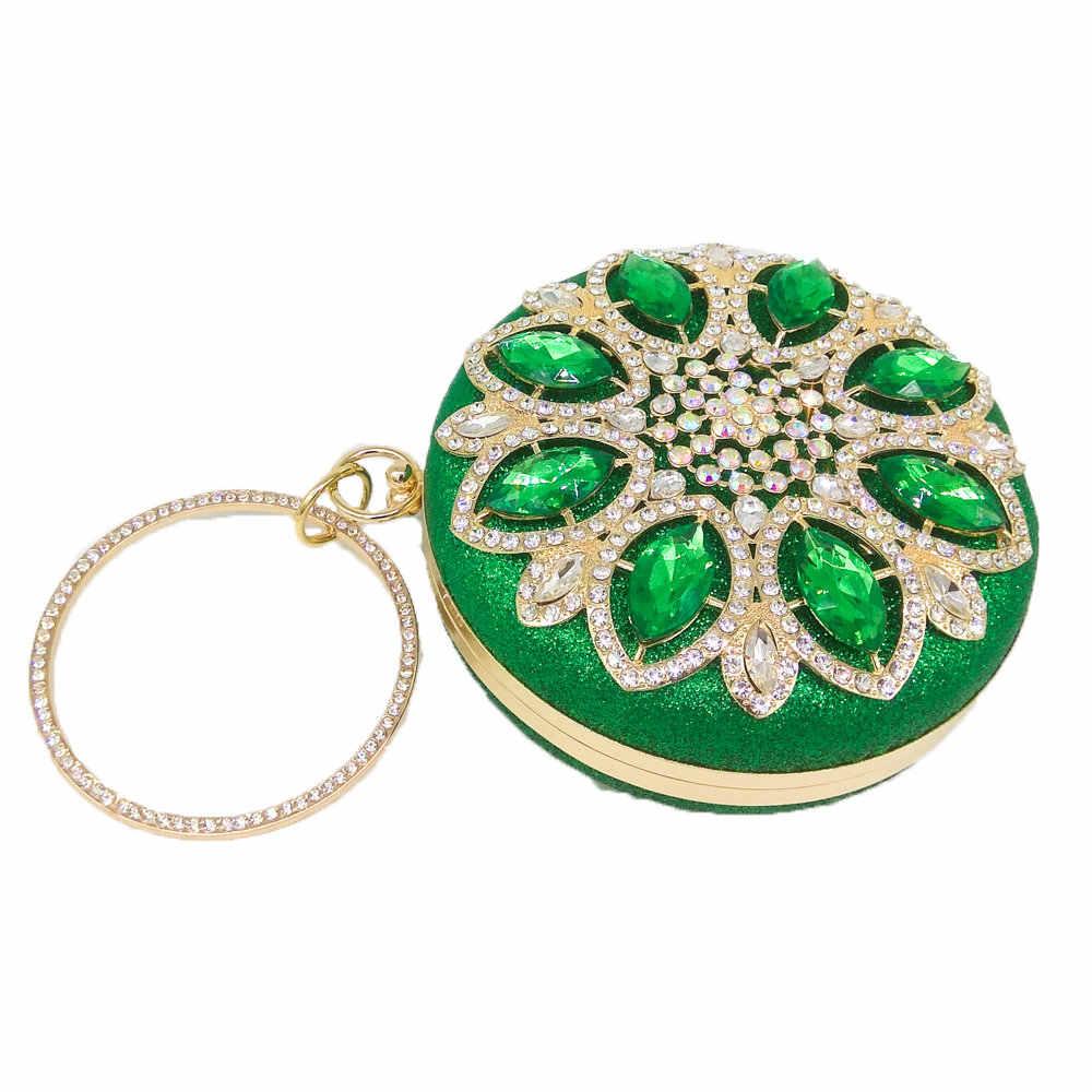 Boutique de FGG круговой зеленый ромбовидный Для женщин вечерние сумки из металла напульсники сцепления кошелек Свадебная вечеринка выпускного вечера Кристалл Сумочка