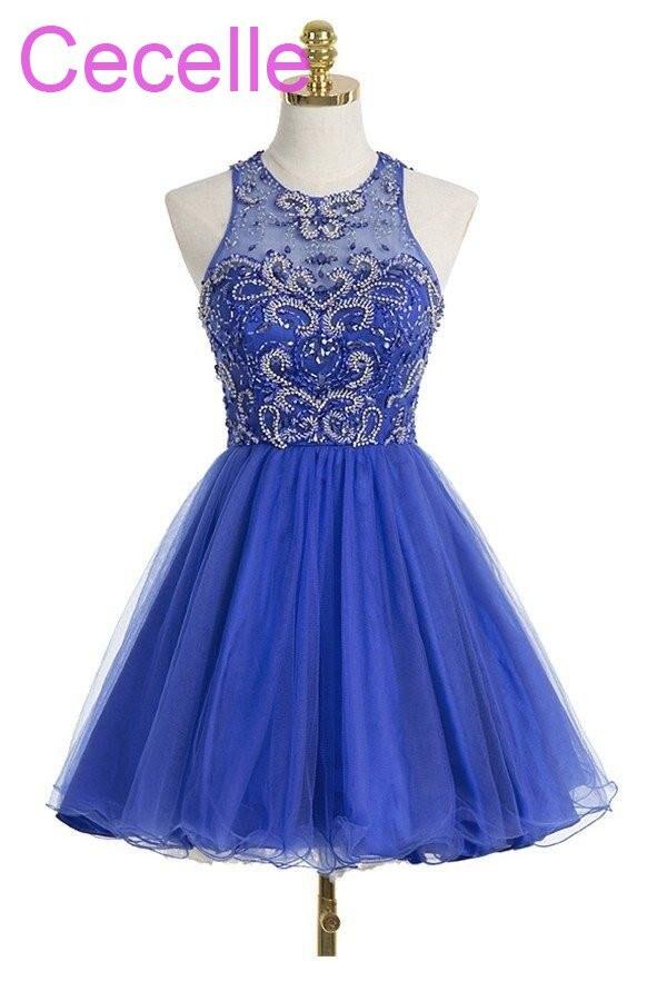 Juniors Royal Blue Short Cocktail Dresses 2018 Beading Tulle Skirt