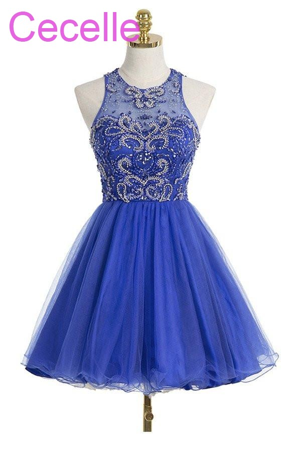 Juniors Royal Blue Short   Cocktail     Dresses   2019 Beading Tulle Skirt Sleeveless Sparkly Girls Informal Prom Party Gowns Real Photo