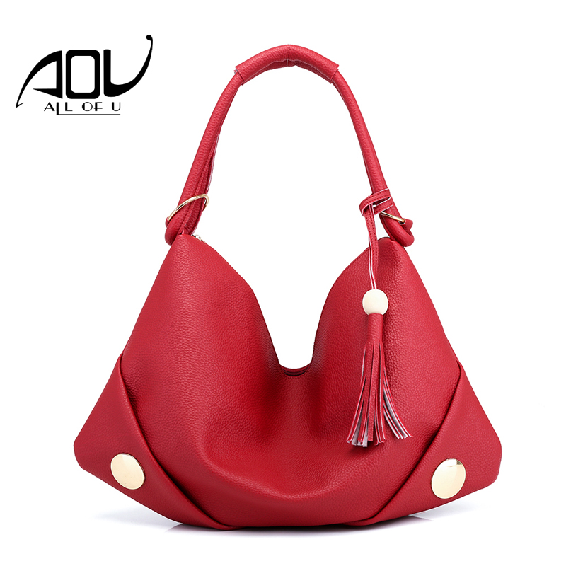 AOU Rivet women bag Women Tassel Handbag Ladie Female PU Leather Bags Portable Shoulder Bag Handbags Ladies Ladies Messenger Ba