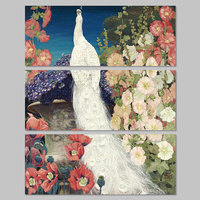 Big Size 3pcs Decoration White Peacock Forest Bird Wall Art Picture Flower Tree Colorful Canvas Painting