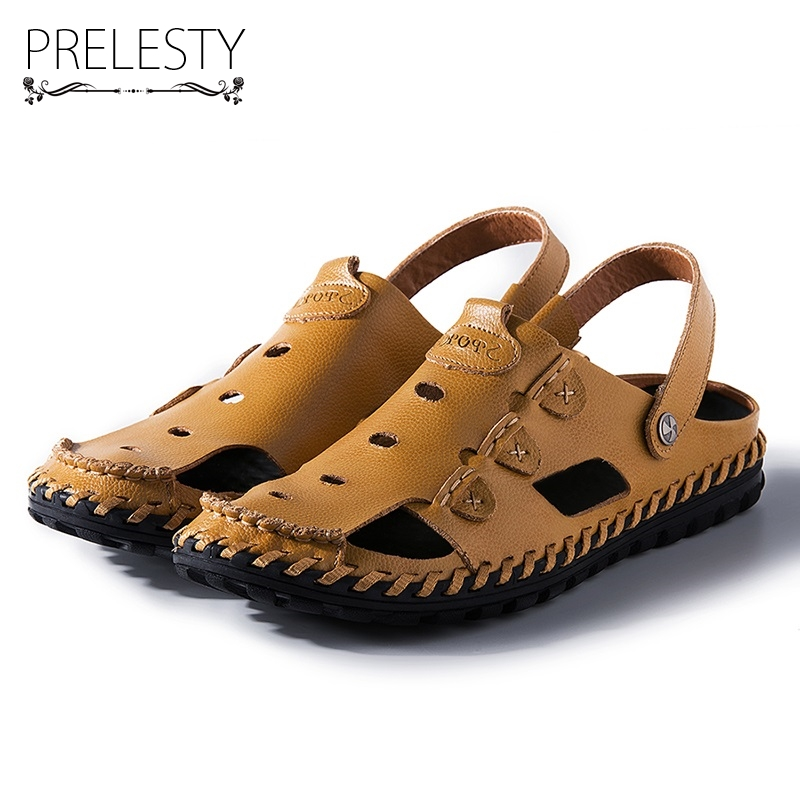 Prelesty Summer Men Sandals Breathable Hollow Out Fashion Handmade Sewing Elastic Band Cow Leather Waterproof Beach Flats Shoes
