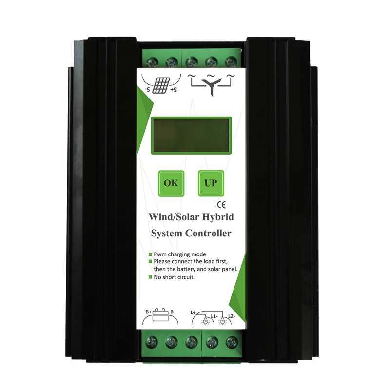 12/24 V ветряной и ветряком и солнечной батареей заряда Управление; свет/таймер Управление ЖК-монитор ветровой турбины Панели солнечные Зарядное устройство (600 W