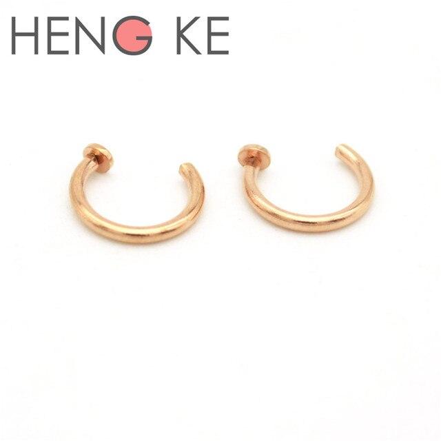 Rose Gold Hoop Nose Ring 18g 20g Open Piercing Sieraden Chirurgisch