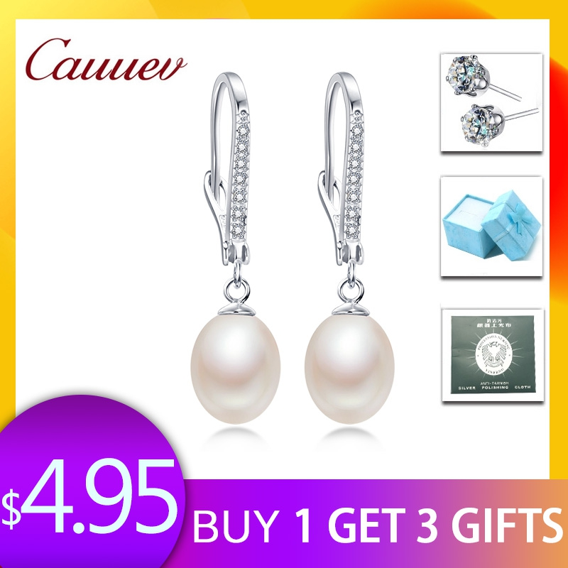 Top Quality 100% Natural Freshwater Pearl Water Drop Earrings Fashion Elegant Party Zirconia Silver 925 Jewelry Womens giftTop Quality 100% Natural Freshwater Pearl Water Drop Earrings Fashion Elegant Party Zirconia Silver 925 Jewelry Womens gift