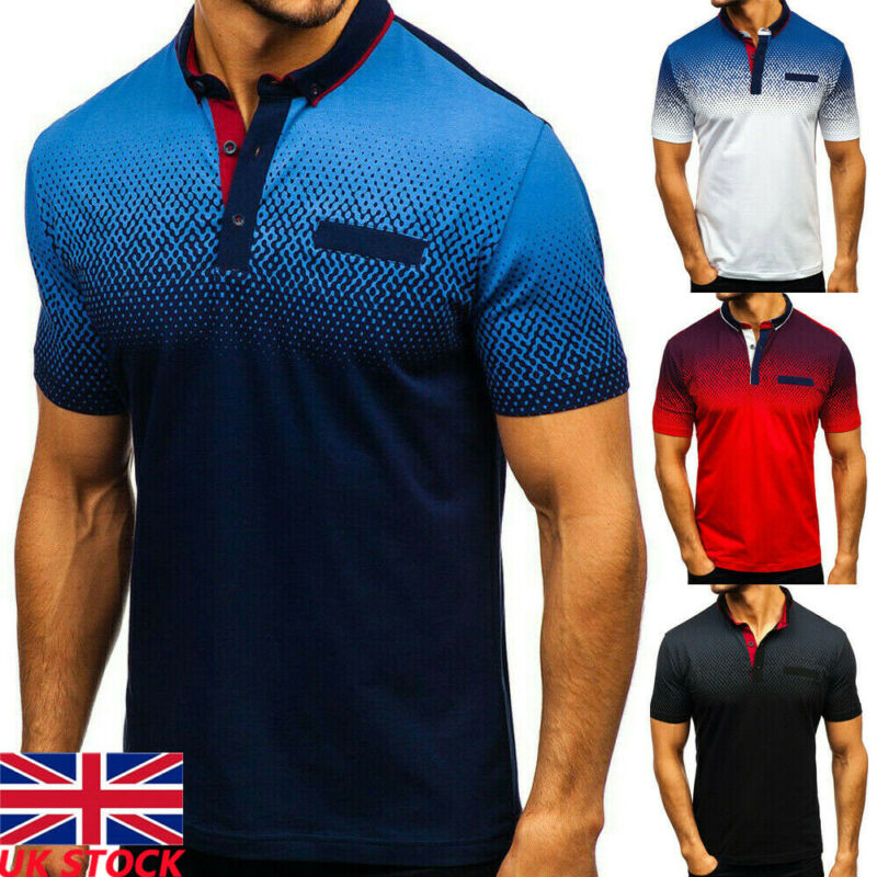 Men's Sport Outdoor Quick Dry Short Sleeves Gradient Tee Shirt Tops Men's Slim Fit Quick-Dry Golf Shirt Mens Tops Shirts Golf