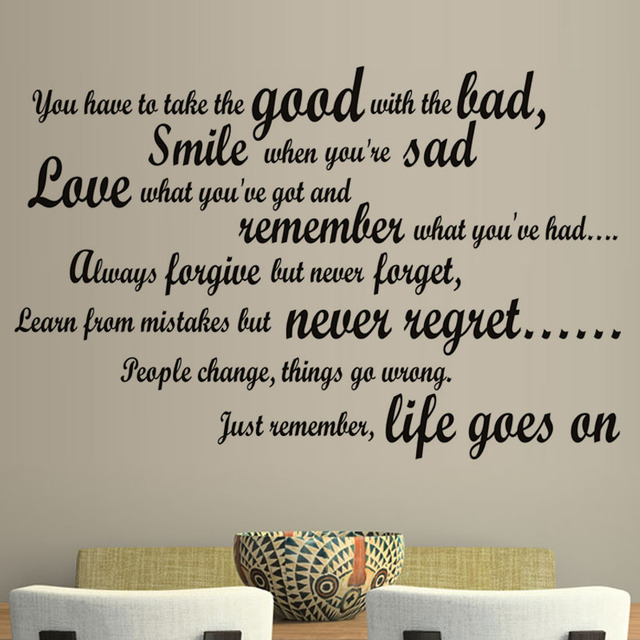 Smile When You Are Sad Living Room Wall Decal Art Vinyl Removable English Text Quote Wall & Smile When You Are Sad Living Room Wall Decal Art Vinyl Removable ...
