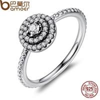 BAMOER 3 Size 925 Sterling Silver Round Shape Radiant Elegance Clear CZ Flower Finger Rings For