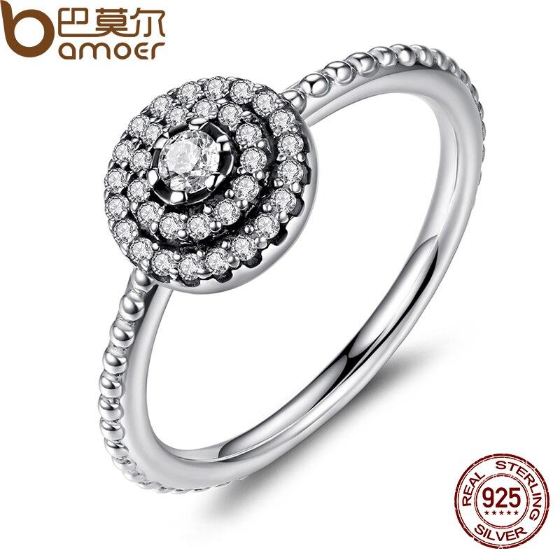 BAMOER 925 Sterling Silver Forma Redonda Radiante Elegância, limpar CZ Flor Anéis de Dedo para As Mulheres ANIVERSÁRIO VENDA 2018 PA7178