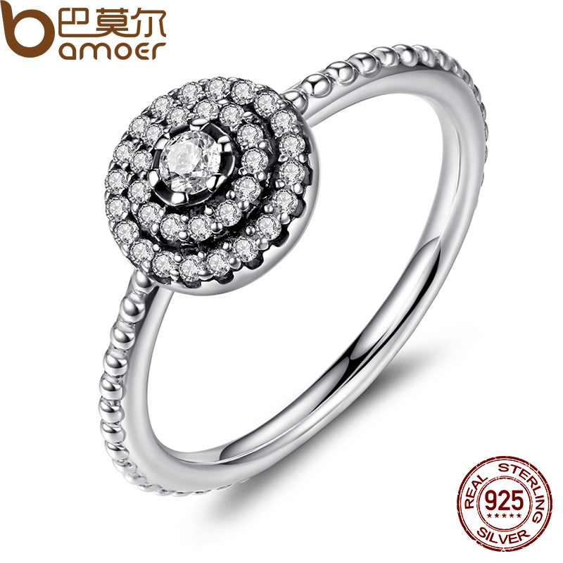 BAMOER 925 Sterling Silver Round Shape Radiant Elegance, Clear CZ Flower Finger Rings for Women ANNIVERSARY SALE 2018 PA7178